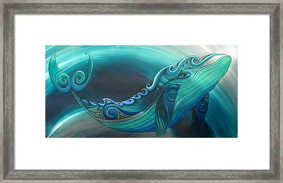 Whale Tahi Framed Print by Reina Cottier