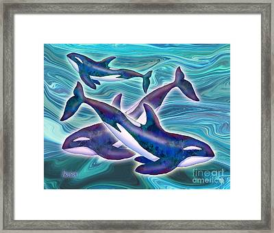 Framed Print featuring the mixed media Whale Whimsey by Teresa Ascone