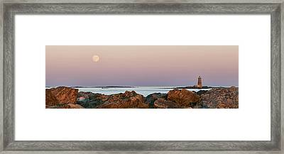 Whaleback Lighthouse Panorama Framed Print by Eric Gendron