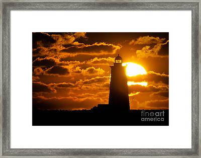 Whaleback Lighthouse Sunrise Framed Print by Scott Thorp