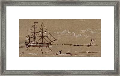 Whaler Ship Frigate Framed Print by Juan  Bosco