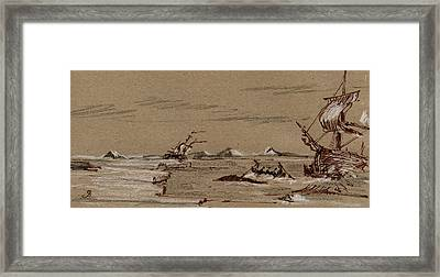 Whaler Ship Framed Print by Juan  Bosco