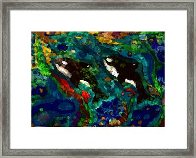 Whales At Sea - Orcas - Abstract Ink Painting Framed Print
