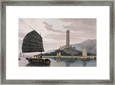 Wham Poa Pagoda, With Boats Sailing Framed Print by Thomas and William Daniell