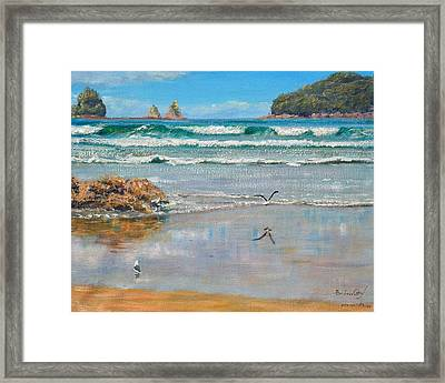 Whangamata Beach Framed Print by Peter Jean Caley