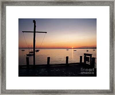 Wharf At Bayside Framed Print by Ursula Lawrence