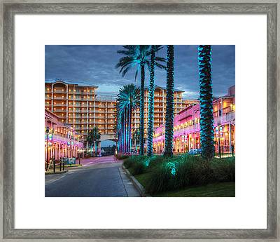 Framed Print featuring the photograph Wharf Blue Lighted Trees by Michael Thomas