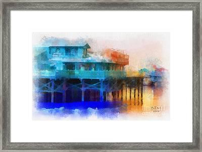 Wharf Color Framed Print by Barbara R MacPhail