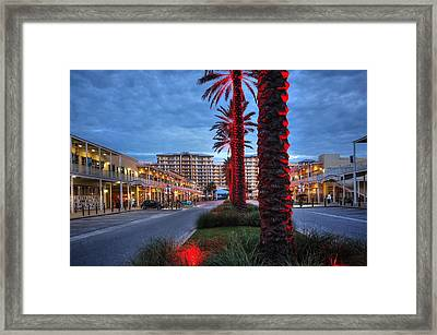 Framed Print featuring the digital art Wharf Red Lighted Trees by Michael Thomas