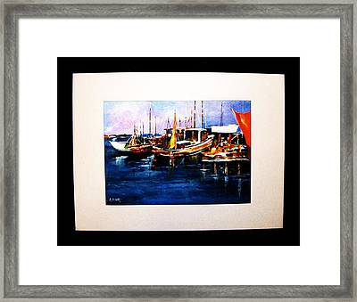 Framed Print featuring the painting Wharf Scene by Al Brown