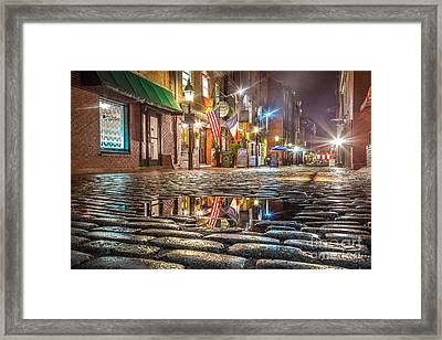 Wharf Street Puddle Framed Print by Benjamin Williamson