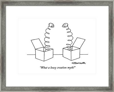 What A Lousy Creation Myth! Framed Print by Charles Barsotti