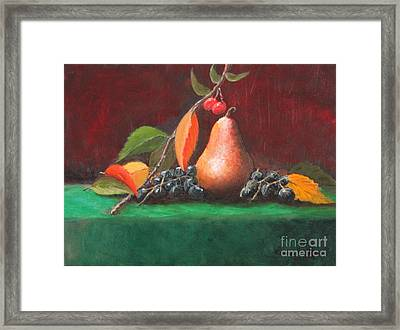 Bosc Pear Framed Print by Louise Williams