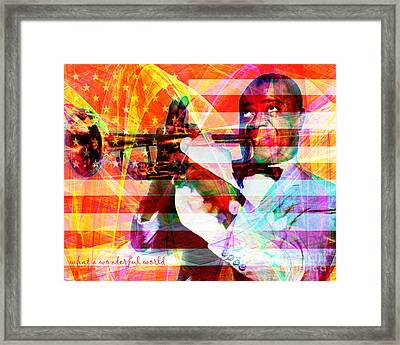 What A Wonderful World Louis Armstrong With Flag 20141218 V1 With Text Framed Print by Wingsdomain Art and Photography