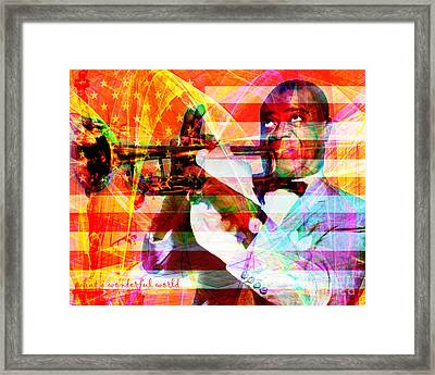 What A Wonderful World Louis Armstrong With Flag And Statue Of Liberty 20141218 With Text Framed Print by Wingsdomain Art and Photography