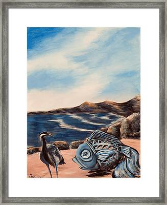 Framed Print featuring the painting What Did You Say? by Susan Culver