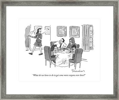 What Do We Have To Do To Get Some More Crayons Framed Print by Danny Shanaha