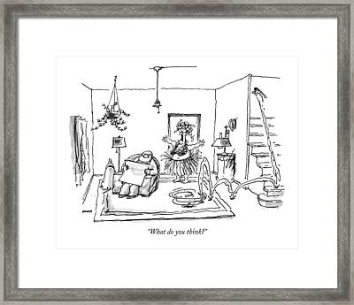 What Do You Think? Framed Print by George Booth