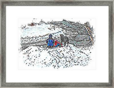 What Fascinates Children And Dogs -  Snow Day - Winter Framed Print by Barbara Griffin