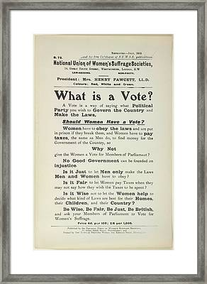 What Is A Vote? Framed Print by British Library