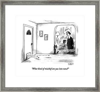 What Kind Of Mischief Are You Into Now? Framed Print by Sam Gross