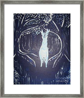 Framed Print featuring the painting What Walks These Woods by Wendy Coulson