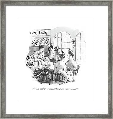 What Would You Suggest For Three Hungry Bears? Framed Print