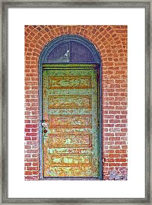 What's Behind The Green Door Framed Print