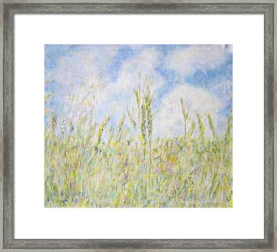 Wheat Field And Wildflowers Framed Print by Glenda Crigger