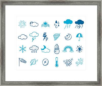 Wheater Icon Set Framed Print by Eastnine Inc.