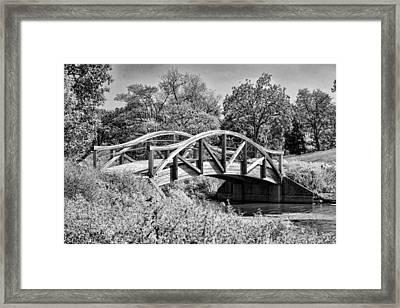 Wheaton Northside Park Bridge Black And White Framed Print