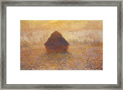 Wheatstack Sun In The Mist Framed Print by Claude Monet