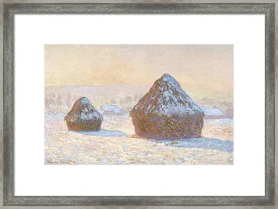Wheatstacks, Snow Effect, Morning Meules Framed Print by Litz Collection