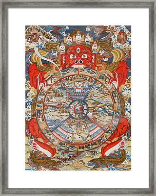 Wheel Of Life Or Wheel Of Samsara Framed Print by Unknown