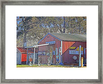Wheel Sales Barn Framed Print by Linda Phelps