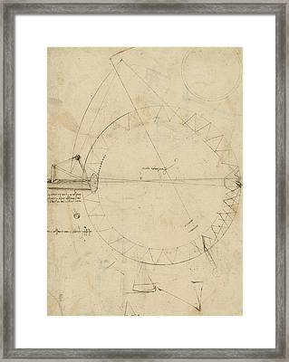 Wheel Sketch Of Drawing In Folio 956 Framed Print by Leonardo Da Vinci