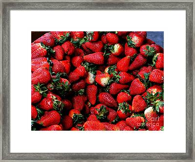 Wheelbarrow Of Strawberries Framed Print by Al Bourassa