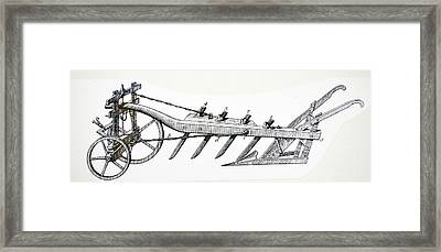 Wheeled Plough With Four Coulters Framed Print