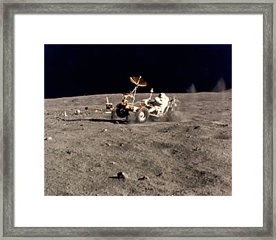 Wheelie On The Moon Framed Print by Underwood Archives