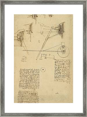 Wheels And Pins System Conceived For Making Smooth Motion Of Carts From Atlantic Codex Framed Print by Leonardo Da Vinci