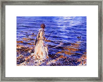 When A Woman Goes Fishing Framed Print