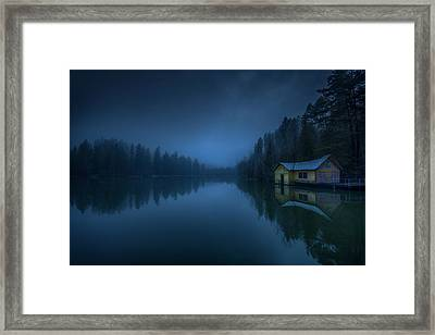 When Clouds And Night Were Falling Framed Print