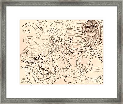 When Demons And Dragons Clash Sketch Framed Print by Coriander  Shea