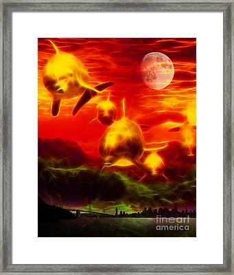 When Dolphins Cry - V2 Framed Print by Wingsdomain Art and Photography