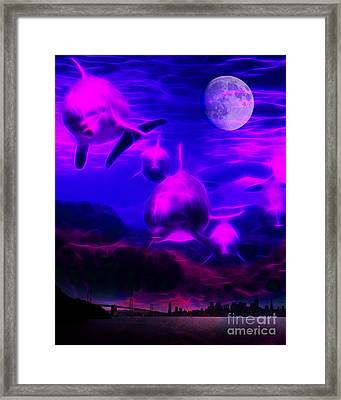 When Dolphins Cry Framed Print by Wingsdomain Art and Photography