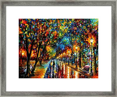 When Dreams Come True - Palette Knlfe Landscape Park Oil Painting On Canvas By Leonid Afremov Framed Print by Leonid Afremov