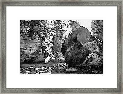 When Giants Fall Black And White Framed Print by Barbara Snyder
