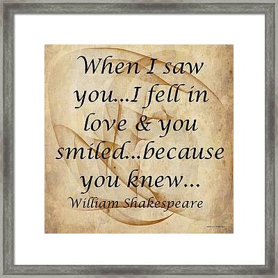 When I Saw You Framed Print
