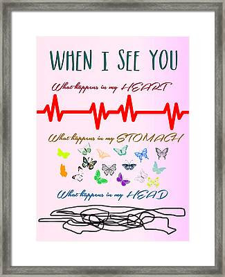 When I See You Minimalist Poster Framed Print by Celestial Images