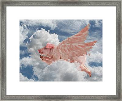 When Pigs Can Fly - Flying Pig Framed Print by Jack Zulli